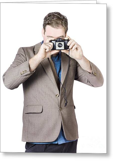 Businessman Capturing Photo Greeting Card by Jorgo Photography - Wall Art Gallery