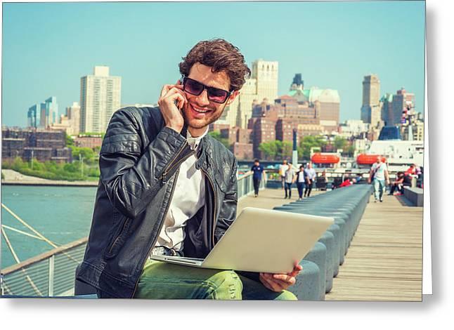 Businessman Enjoying Working Outside Greeting Card