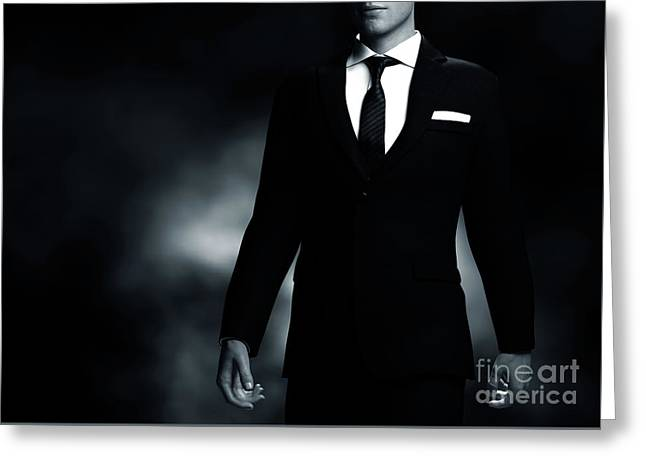 Businessman, Gentleman In Elegant Suit On Black Background. Middle Body Part View Greeting Card