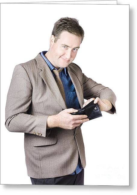Businessman Holding Wallet Greeting Card