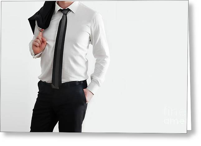 Businessman In Laid-back, Relaxed Pose On White Background Greeting Card