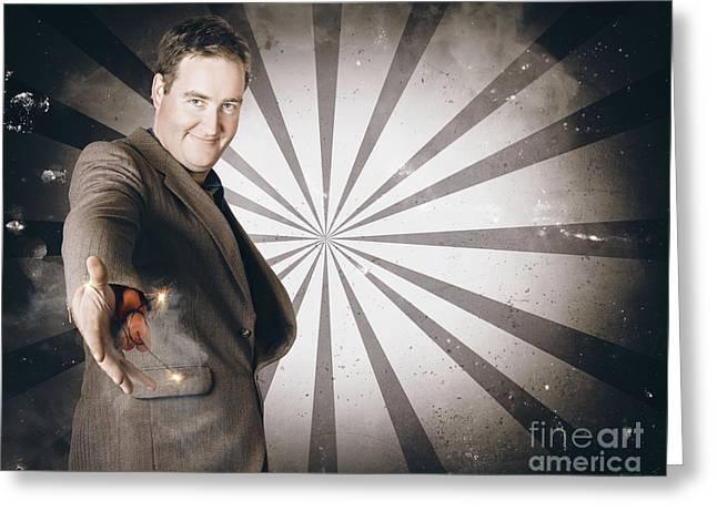 Businessman Offering Dishonest Dynamite Handshake Greeting Card by Jorgo Photography - Wall Art Gallery