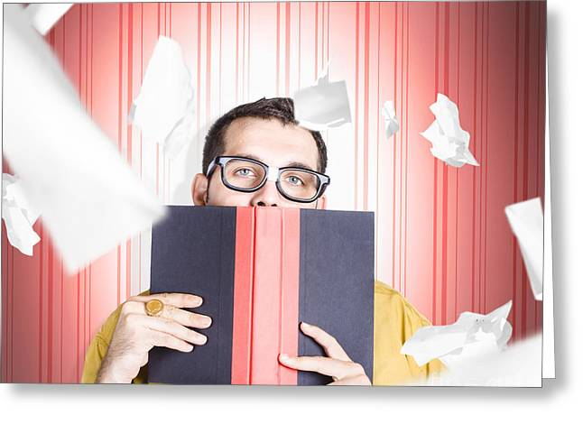 Businessman Studying Stats And Data Statistics Greeting Card by Jorgo Photography - Wall Art Gallery