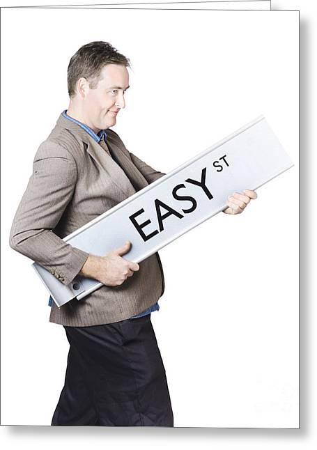 Businessman Travelling To Easy Street Greeting Card