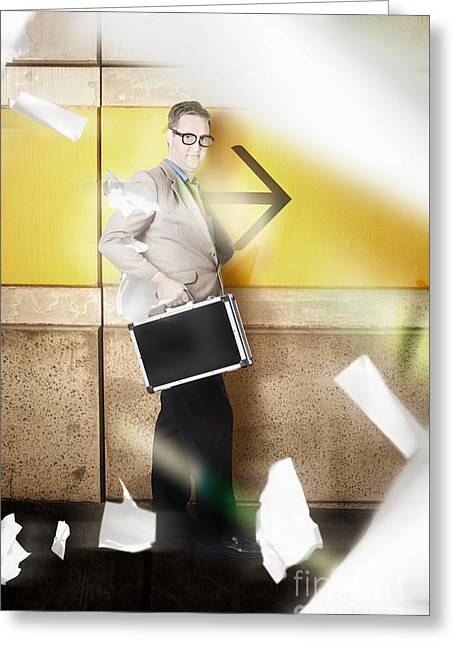 Businessman Walking In Direction Of Road Arrow Greeting Card by Jorgo Photography - Wall Art Gallery
