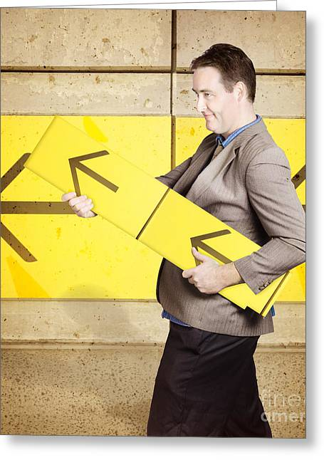 Businessman With Arrow Sign Signalling Growth Greeting Card