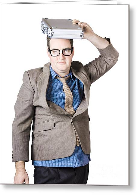 Businessman With Briefcase Overhead Greeting Card