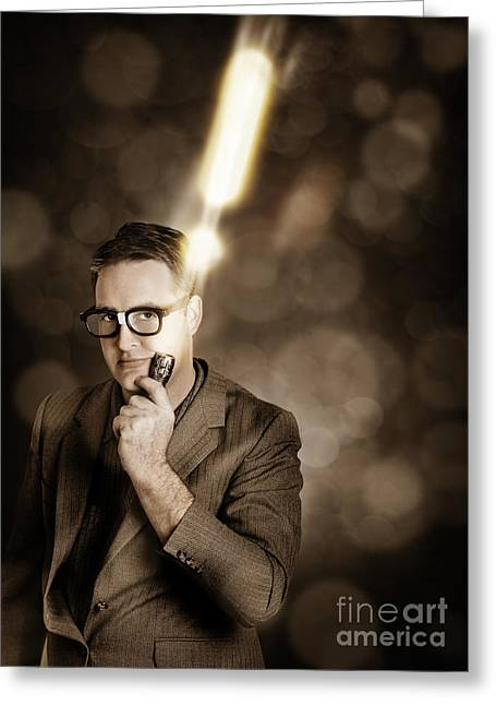 Businessman With Bright Solution Idea Greeting Card by Jorgo Photography - Wall Art Gallery