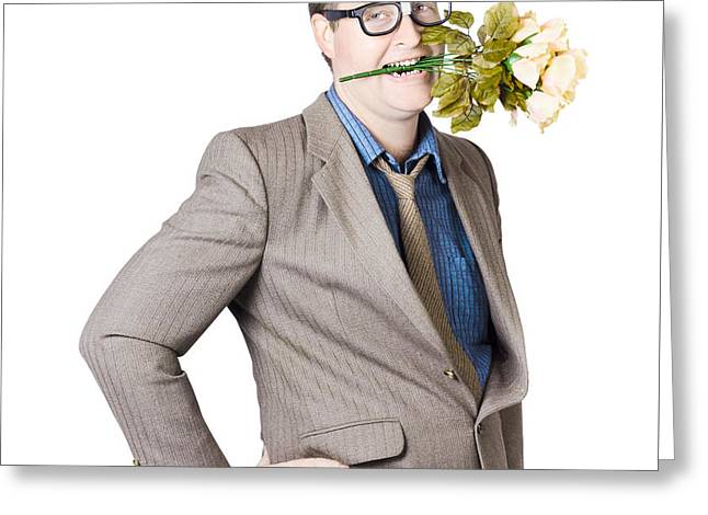 Businessman With Flowers In Mouth Greeting Card