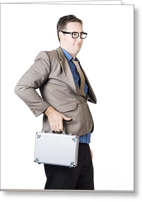 Businessman With Silver Briefcase Greeting Card