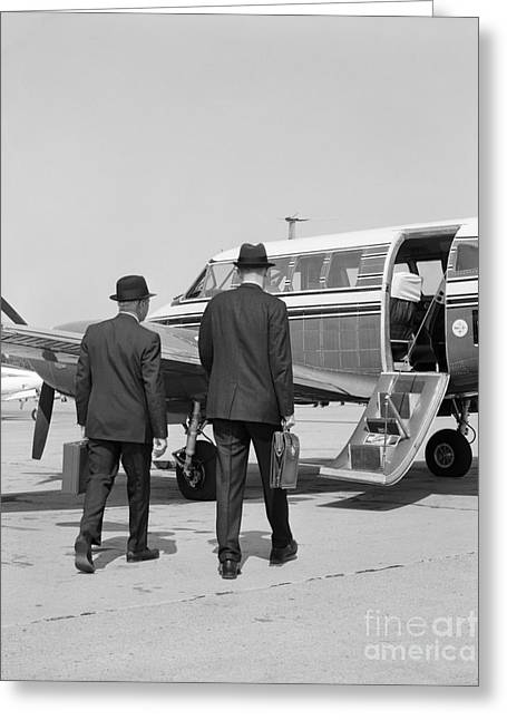 Businessmen Walking To Plane Greeting Card by H. Armstrong Roberts/ClassicStock