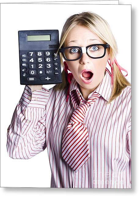 Businesswoman With Calculator Greeting Card by Jorgo Photography - Wall Art Gallery