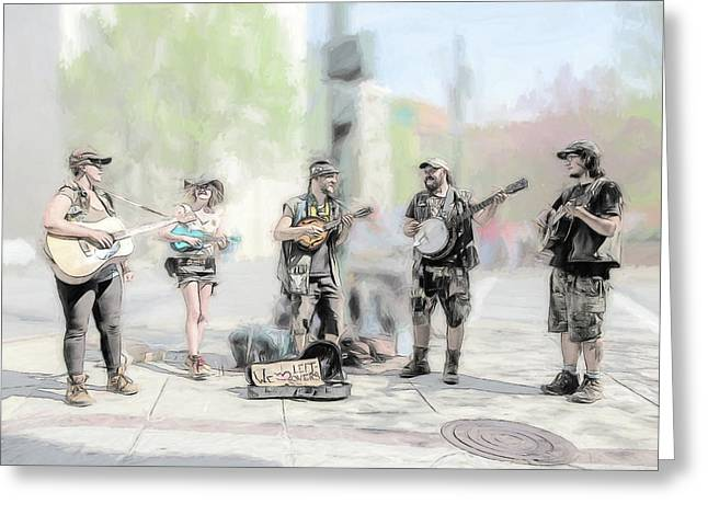 Busker Quintet Greeting Card