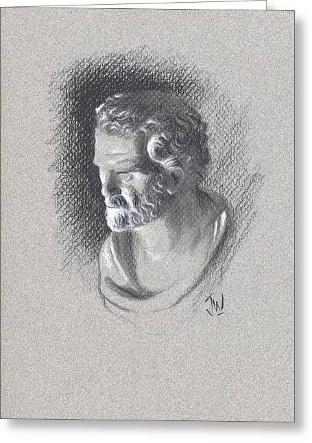 Greeting Card featuring the drawing Bust 473 by Joe Winkler