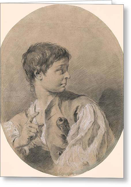 Bust Of A Boy In Profile Holding A Sword Greeting Card by Giovanni Battista