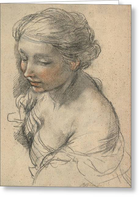 Bust Of A Young Woman Turned To The Left Greeting Card by Pietro da Cortona