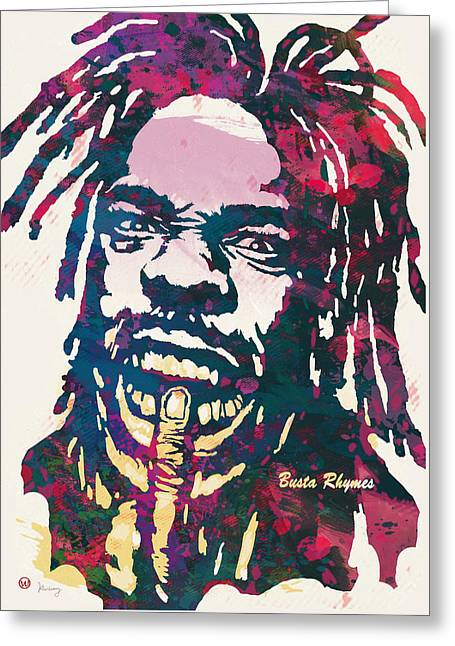 Busta Rhymes Pop Art Poster Greeting Card by Kim Wang