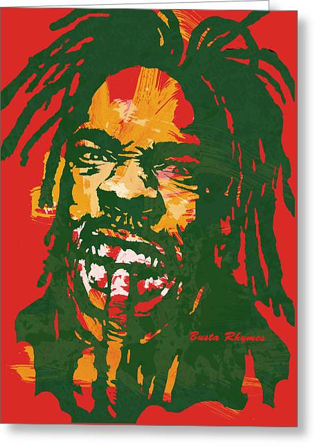 Busta Rhymes Pop Stylised Art Poster Greeting Card by Kim Wang