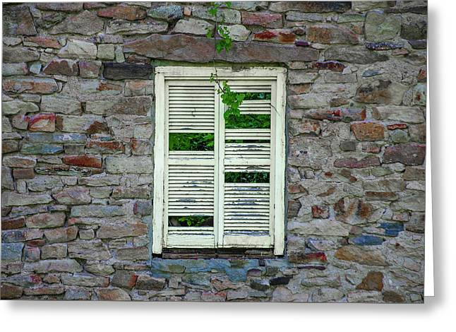 Busted Shutter On Bridgetown Mill House Ruin - Bucks County Pa  Greeting Card by Bill Cannon