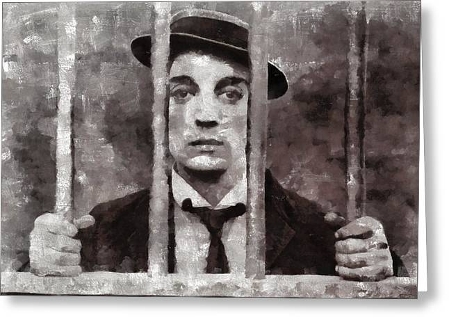 Buster Keaton, Actor Greeting Card by Mary Bassett