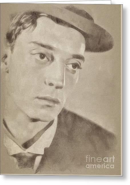Buster Keaton, Hollywood Legend By John Springfield Greeting Card by John Springfield