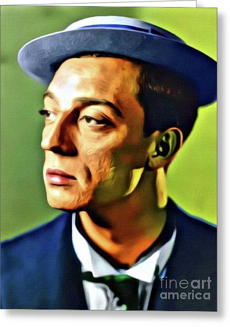 Buster Keaton, Hollywood Legend. Digital Art By Mb Greeting Card by Mary Bassett