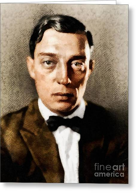 Buster Keaton, Hollywood Legend Greeting Card by John Springfield
