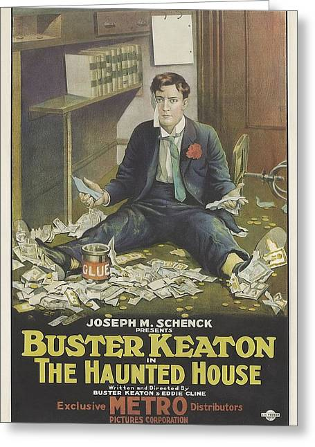 Buster Keaton In The Haunted House 1921 Greeting Card