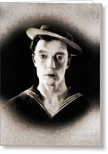 Buster Keaton, Vintage Hollywood Legend Greeting Card by John Springfield