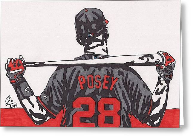 Buster Posey Greeting Card by Jeremiah Colley