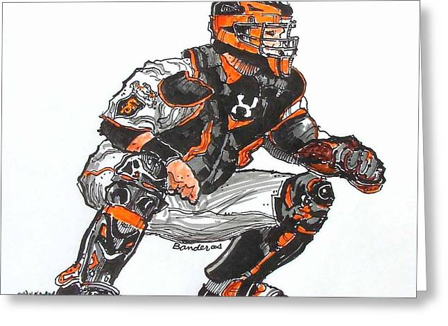 Greeting Card featuring the painting Buster Posey by Terry Banderas