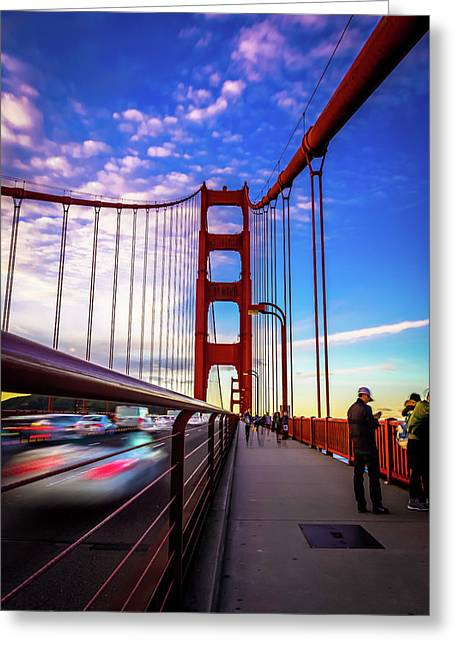 Busy Bay Bridge Greeting Card by Phil Fitzgerald