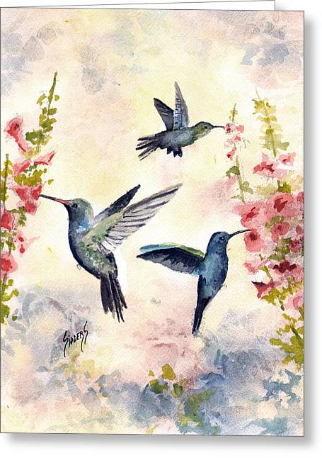 Busy Birds Greeting Card by Sam Sidders