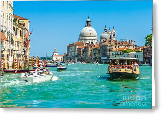 Busy Canal Grande In Venice Greeting Card by JR Photography