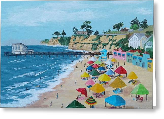 Busy Capitola Beach Greeting Card