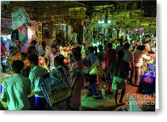 Greeting Card featuring the photograph Busy Chennai India Flower Market by Mike Reid