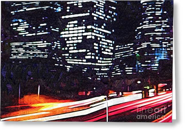 Busy City At Night Greeting Card by Deborah MacQuarrie-Selib