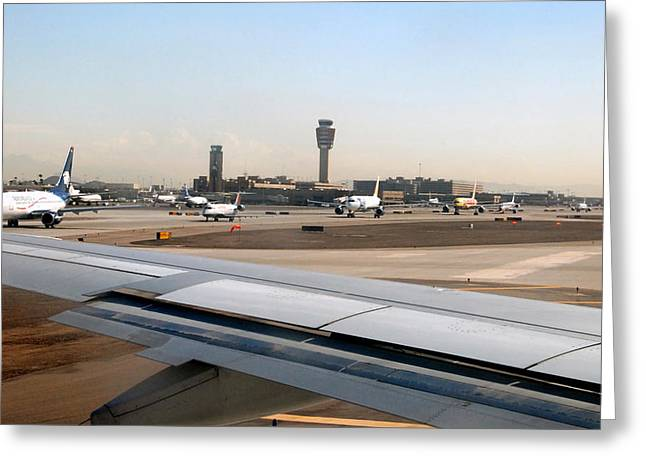 Control Towers Greeting Cards - Busy day at Sky Harbor Greeting Card by David Lee Thompson