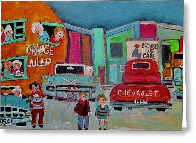 Busy Night At The Orange Julep Montreal Icon Greeting Card