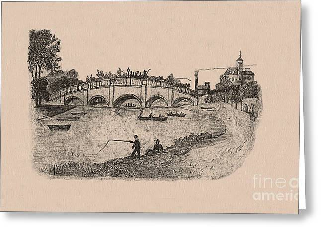 Busy Richmond Bridge And Fishermen Greeting Card