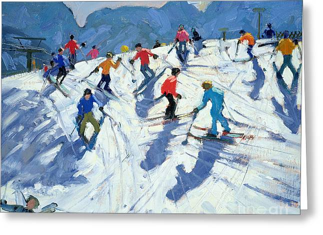 Busy Ski Slope Greeting Card