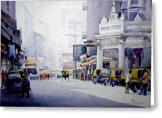 Busy Street In Kolkata Greeting Card by Samiran Sarkar