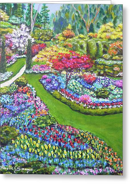 Greeting Card featuring the painting Butchart Gardens by Amelie Simmons