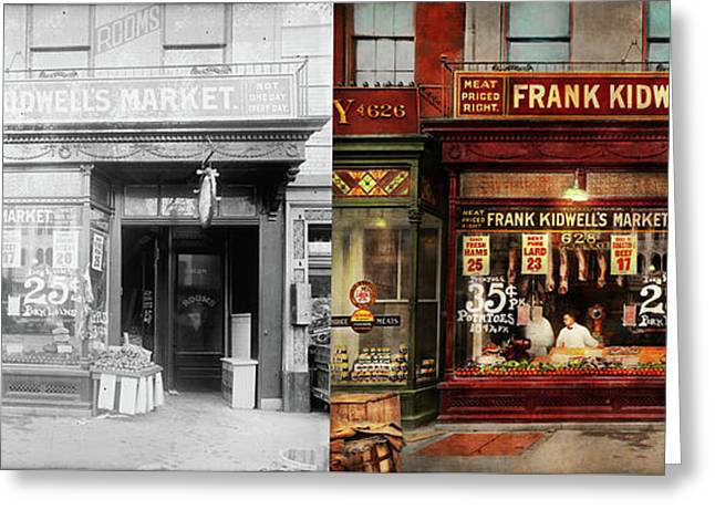 Greeting Card featuring the photograph Butcher - Meat Priced Right 1916 - Side By Side by Mike Savad