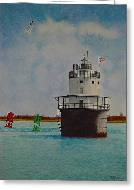 Butler Flats Lighthouse Greeting Card by Ron Sylvia