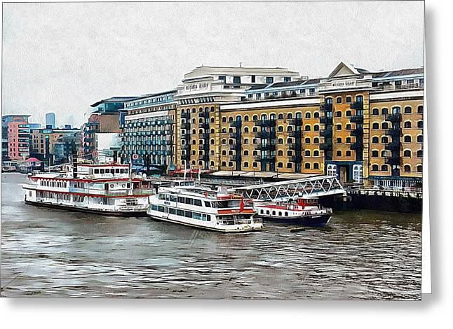 Butler's Wharf Area London Greeting Card by Dorothy Berry-Lound