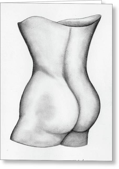 Greeting Card featuring the drawing Butt Of A Study by John Stuart Webbstock