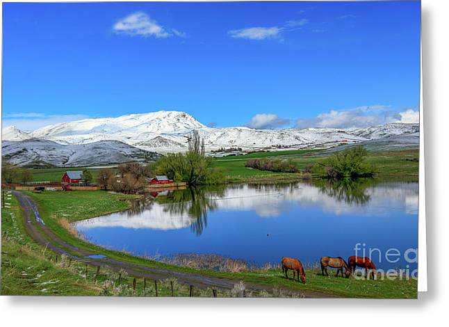 Greeting Card featuring the photograph Butte Farm After Spring Snow by Robert Bales