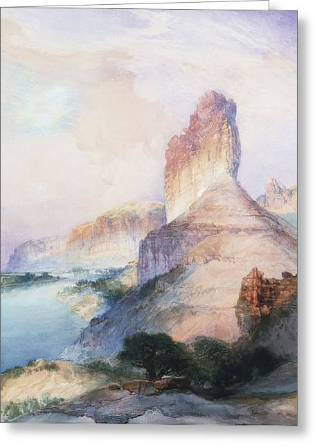 Out West Greeting Cards - Butte Green River Wyoming Greeting Card by Thomas Moran