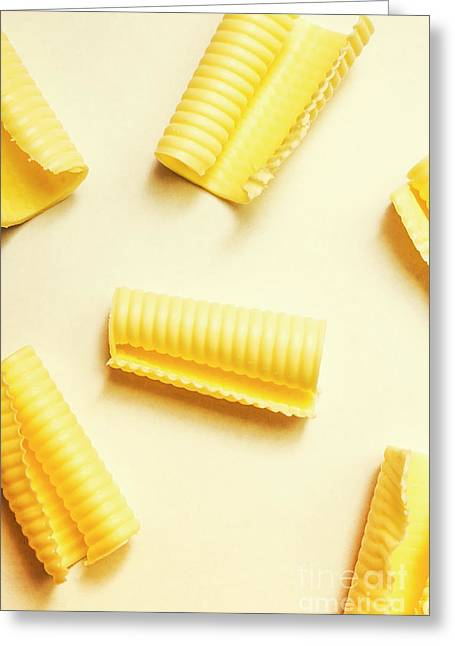 Butter Curls On White Background Greeting Card